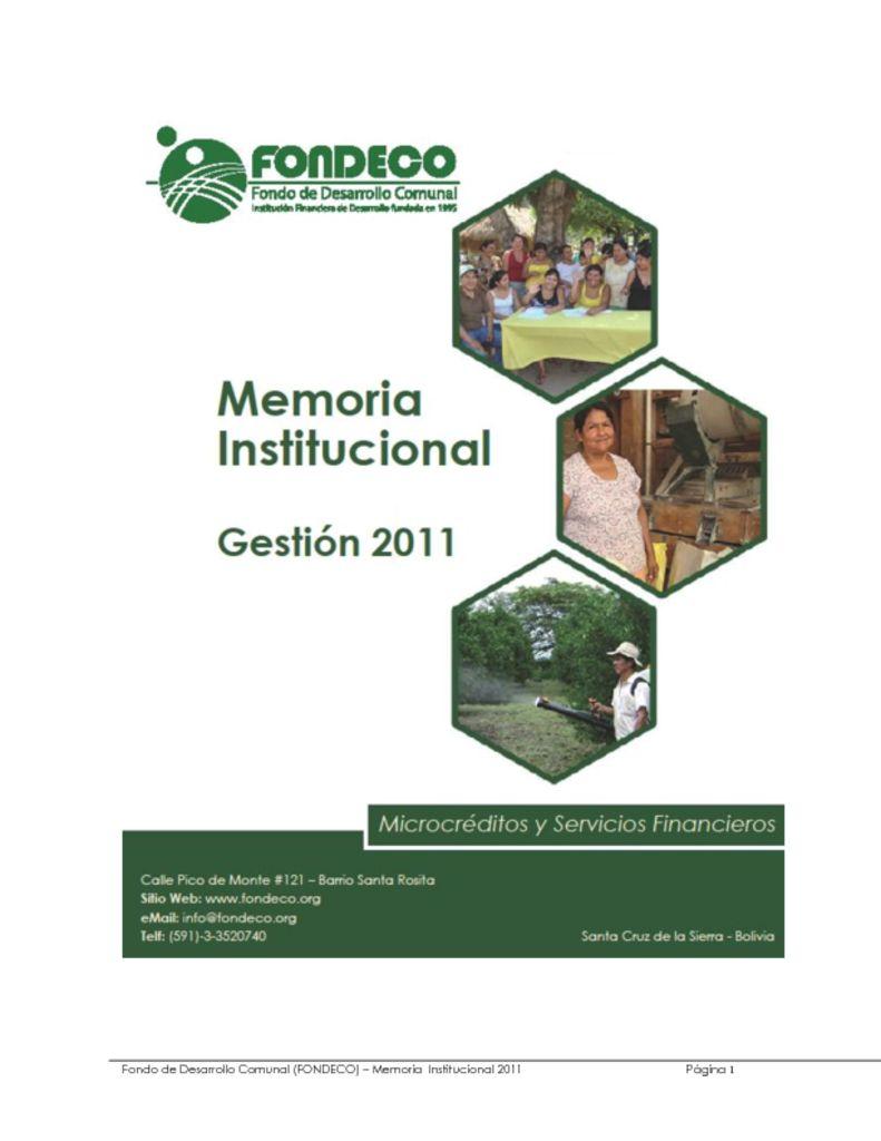 thumbnail of Memoria Institucional 2011