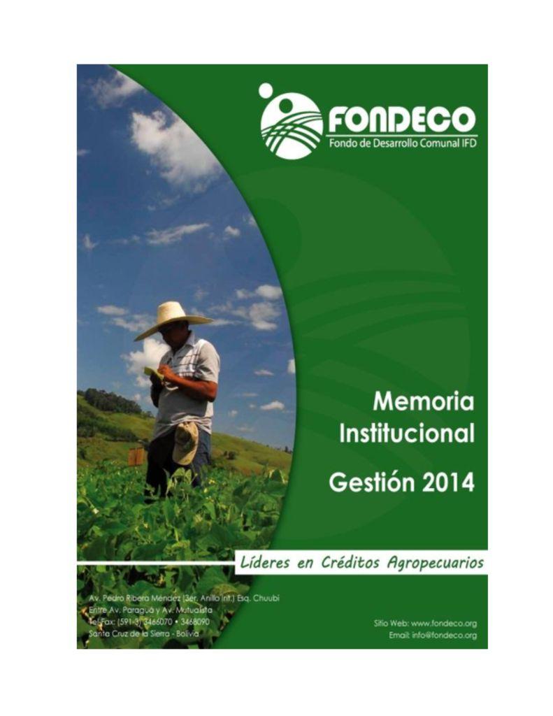 thumbnail of Memoria Institucional 2014