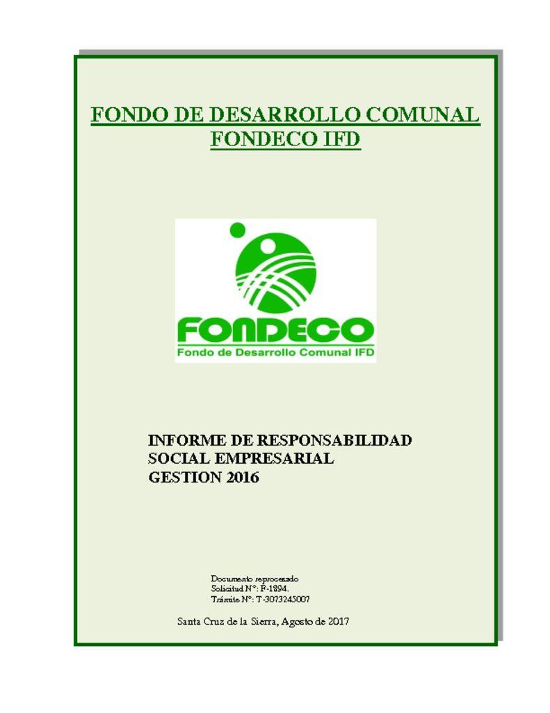 thumbnail of Informe RSE – FONDECO.2016