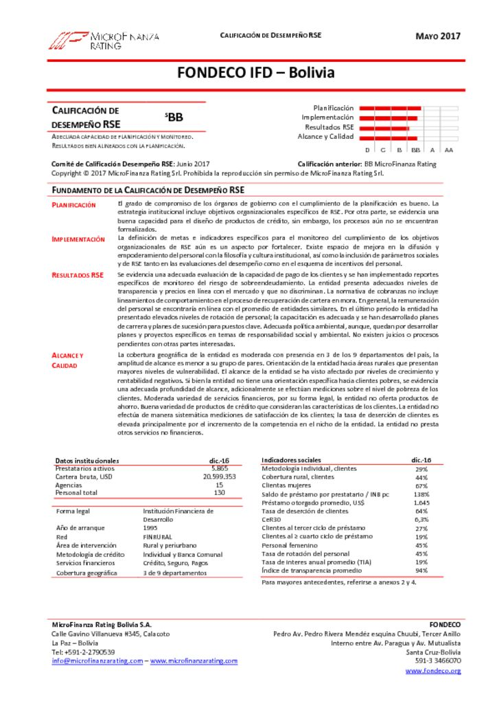 thumbnail of FONDECO, Informe Final calificación RSE DIC16
